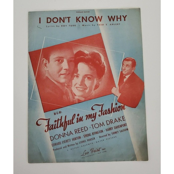 Sheet Music 1940s I Don't Know Why MGMs Donna Reed